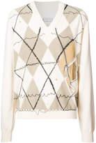 Maison Margiela distressed Argyle sweater
