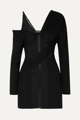Alexander Wang Draped Lace And Modal-jersey Mini Dress - Black
