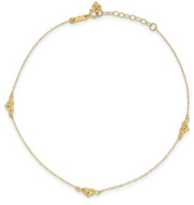 Macy's Triple Puffed Heart Anklet in 14k Yellow Gold