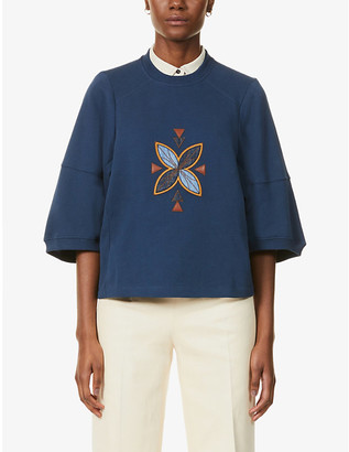 Sessun Osumi Patch embroidered cotton-jersey sweatshirt