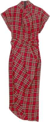 Awake Draped Checked Cotton-flannel Midi Dress