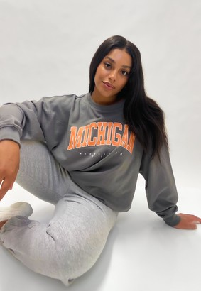 Missguided Plus Size Grey Michigan Sweatshirt