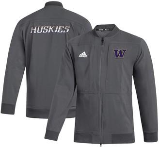 adidas Men's Gray Washington Huskies Sideline Full-Zip Bomber Jacket