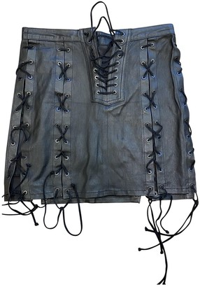 Unravel Project Black Leather Skirt for Women
