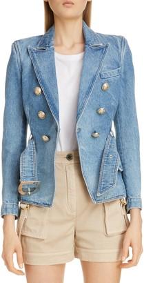 Balmain Double Breasted Denim Jacket