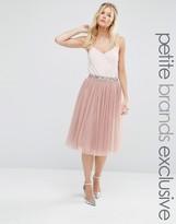 Maya Petite Sequin Tulle Midi Skirt With Embellished Waist