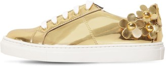 Little Marc Jacobs FAUX LEATHER SNEAKERS W/ DAISY PATCHES