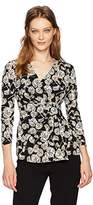 Anne Klein Women's Terrace Shade Print Wrap Top with Buckle