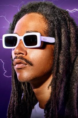 boohoo Mens White MAN x Roberi & Fraud Square Frame Sunglasses, White