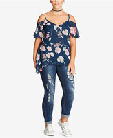 City Chic Trendy Plus Size Paneled Cold-Shoulder Top