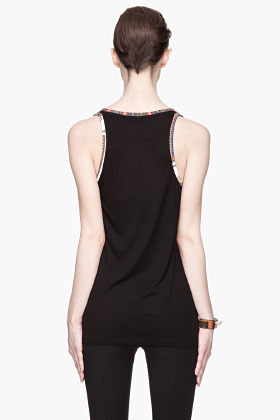 Givenchy Black Crepe and Jersey Paisley Print Tank top