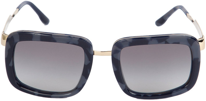 Stella McCartney Plastic, Metal & Tortoise Square Sunglasses