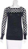 Diane von Furstenberg Mesh-Trimmed Crew Neck Sweater