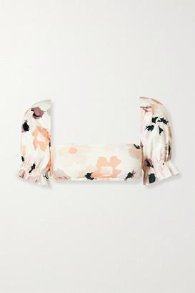 Peony Swimwear Soiree Convertible Floral-print Bikini Top - White
