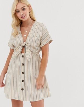 Gilli button down mini dress with tie front detail in stripe-Beige