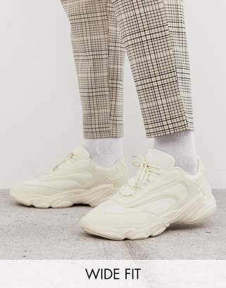 Asos Design DESIGN Wide Fit trainers in off white with chunky sole