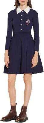 Sandro Long Sleeve Fit & Flare Dress