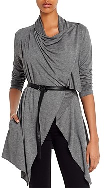 Andrew Marc Belted Drape-Front Cardigan
