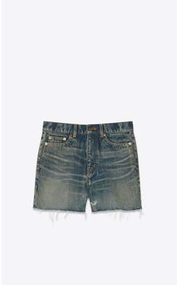 Saint Laurent Raw-Edge Jean Shorts In Rusty Dark Blue Denim