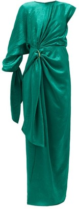 Sies Marjan Catherine Asymmetric Draped Crinkled-satin Gown - Green