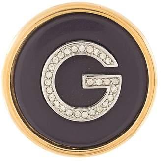 Givenchy Pre-Owned rhinestone G logo brooch