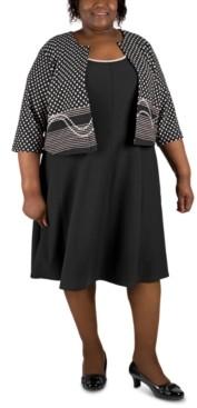 Robbie Bee Plus Size Dress & Patterned Jacket