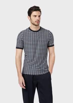Giorgio Armani T-Shirt In Horizontal Wave Fabric