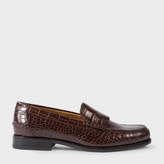 Paul Smith Women's Brown Mock Croc Leather 'Lennox' Fringed Loafers