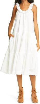 The Great The Magnolia Eyelet Ruffle Cotton Midi Dress