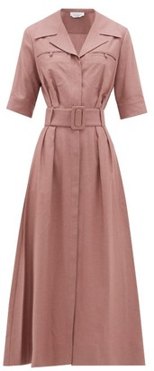 Gabriela Hearst Simone Belted Silk-blend Midi Dress - Grey