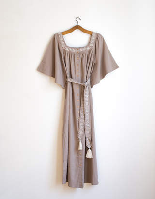Voriagh - Vintage style bohemian embroidered cotton dress barley color - S/M | cotton | cream | White - Cream