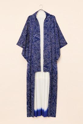 Nuuly Vintage Vintage Navy Silk Long Kimono Jacket