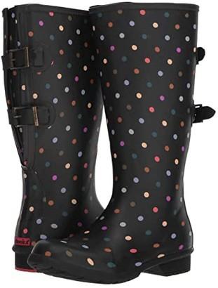 Chooka Versa Dot Rain Boot Wide Calf (Black) Women's Rain Boots