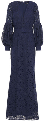 Badgley Mischka Belted Guipure Lace Gown