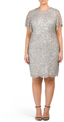 Plus All Over Beaded Cocktail Dress