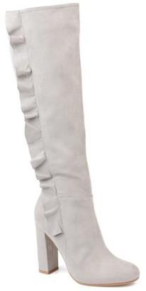 Brinley Co. Womens Wide Calf Knee-high Ruffle Boot