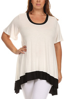 Canari White & Black Scoop Neck Tunic - Plus
