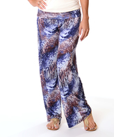 Navy & Brown Snake Abstract Fold-Over Palazzo Pants