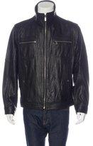Michael Kors Leather Mock Neck Jacket
