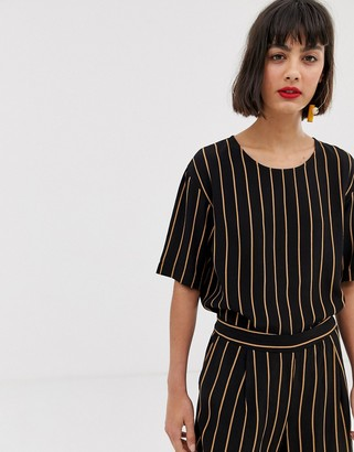 Selected stripe blouse-Black