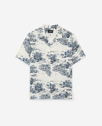 The Kooples Printed loose ecru shirt w/Hawaiian collar