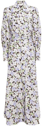 Zimmermann Belted Floral-print Linen Maxi Shirt Dress