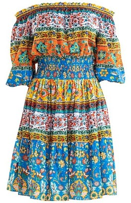 Shoshanna Solstice Patchwork Print Off-The-Shoulder A-Line Dress