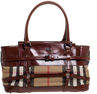 Burberry Brown Leather House Check Bridle Satchel