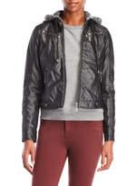 Joujou jou jou Marled Hoodie Faux Leather Jacket