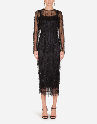 Dolce & Gabbana Sheath Dress With Beaded Fringe Appliques