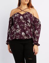 Charlotte Russe Plus Size Floral Strappy Cold Shoulder Top