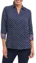 Foxcroft Petite Women's Taylor Classic Dot Non-Iron Cotton Shirt