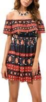 YACUN Women's Off the Shoulder Ruffle Swing Dress