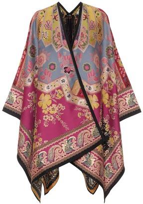 Etro Jacquard wool-blend cape